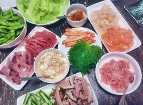 誕生日会の手巻き寿司